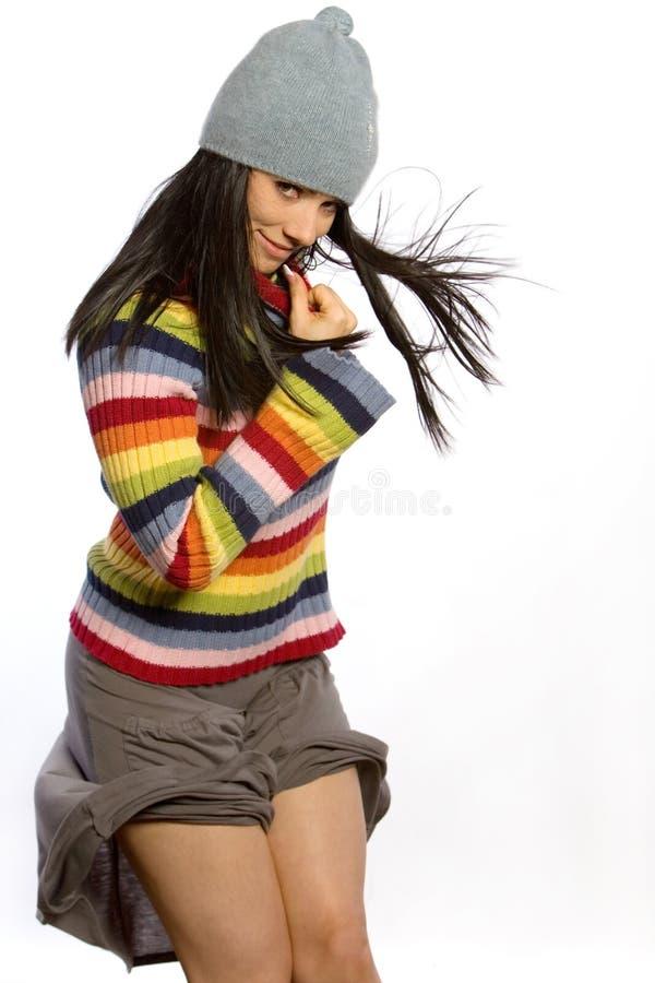 俏丽的毛线衣妇女 库存图片