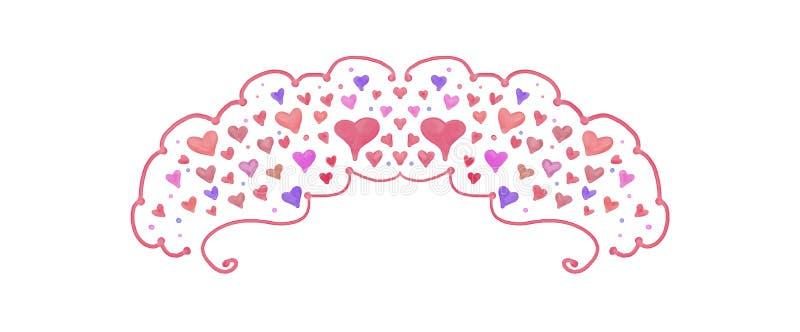 俏丽的水彩婚礼和情人节边界或设计的被绘的心脏设计 向量例证