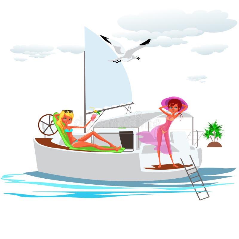 俏丽的泳装的动画片年轻美女 向量例证