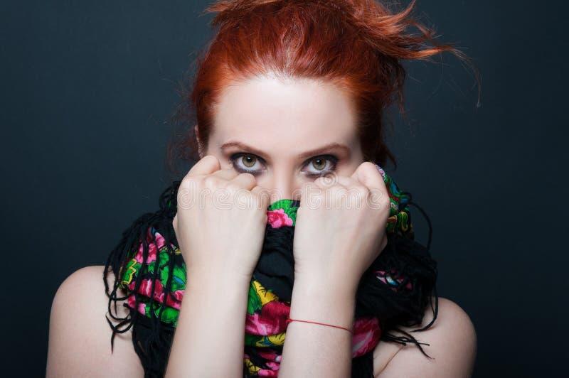 俏丽的红头发人模型画象  免版税库存图片