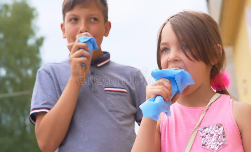 俏丽的舔在奶蛋烘饼锥体愉快笑的女孩和微笑的十几岁的男孩大冰淇淋在自然背景 库存照片