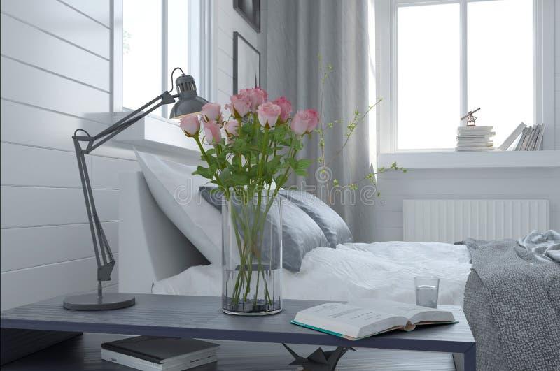 俏丽的花瓶新鲜的桃红色玫瑰在卧室 皇族释放例证