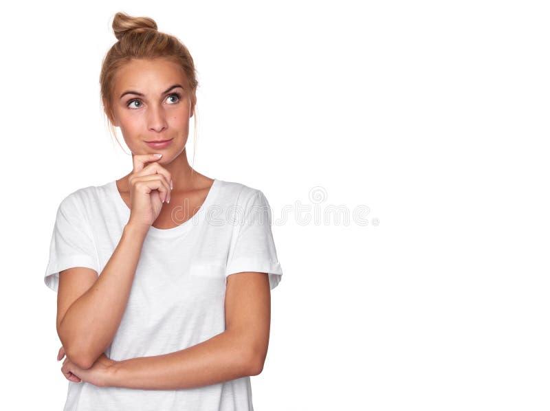 俏丽的认为的妇女 查出 图库摄影