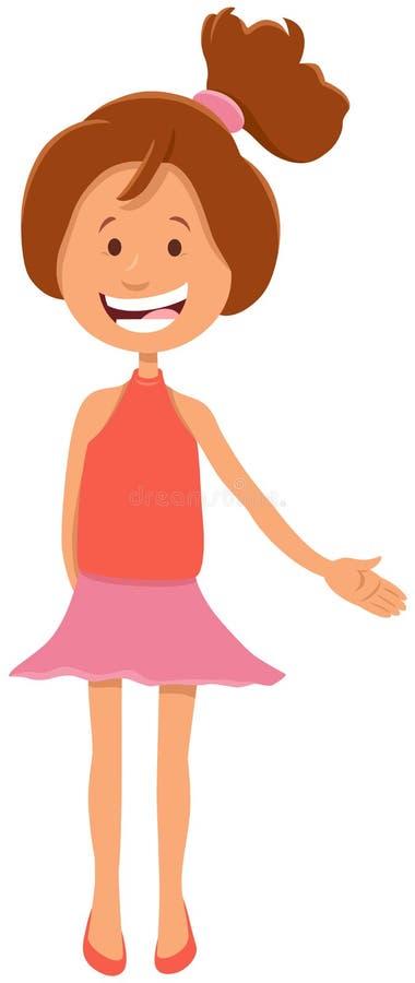 俏丽的青少年的女孩字符动画片例证 皇族释放例证