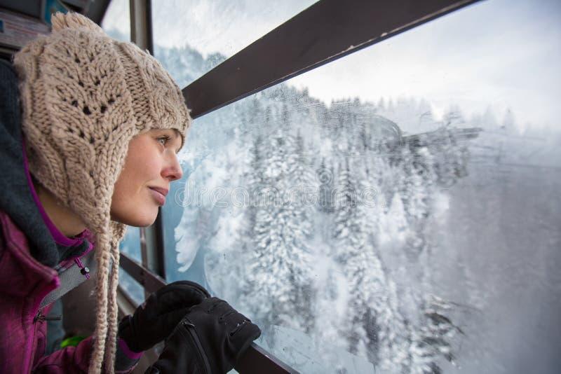 俏丽,少妇赞赏的精采冬天风景 免版税库存图片