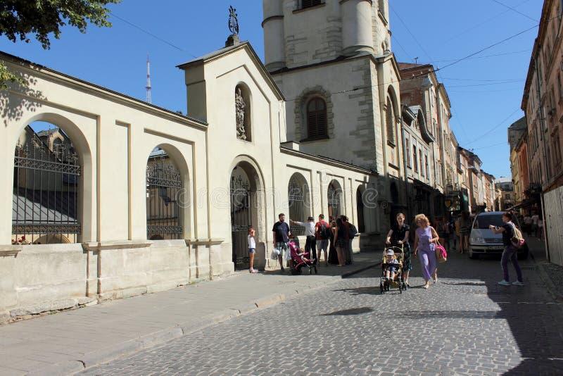 保佑的圣母玛丽亚的做法的亚美尼亚大教堂 市利沃夫州 乌克兰 免版税库存照片