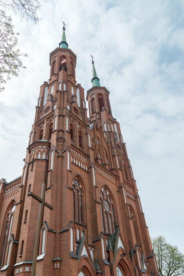 保佑的圣母玛丽亚的圣母无染原罪瞻礼大教堂塔  大教堂在谢德尔采,波兰 图库摄影