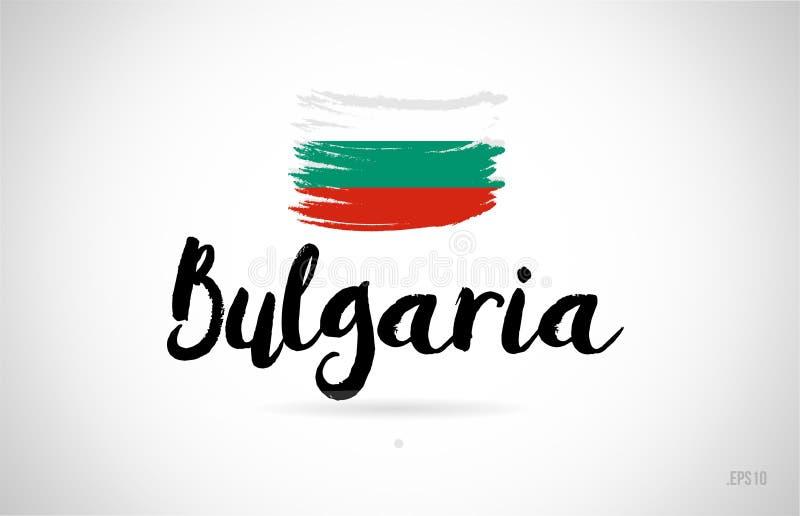 保加利亚与难看的东西设计象商标的国旗概念 库存例证