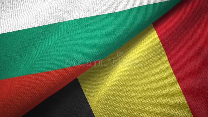 保加利亚和比利时两旗子纺织品布料,织品纹理 向量例证