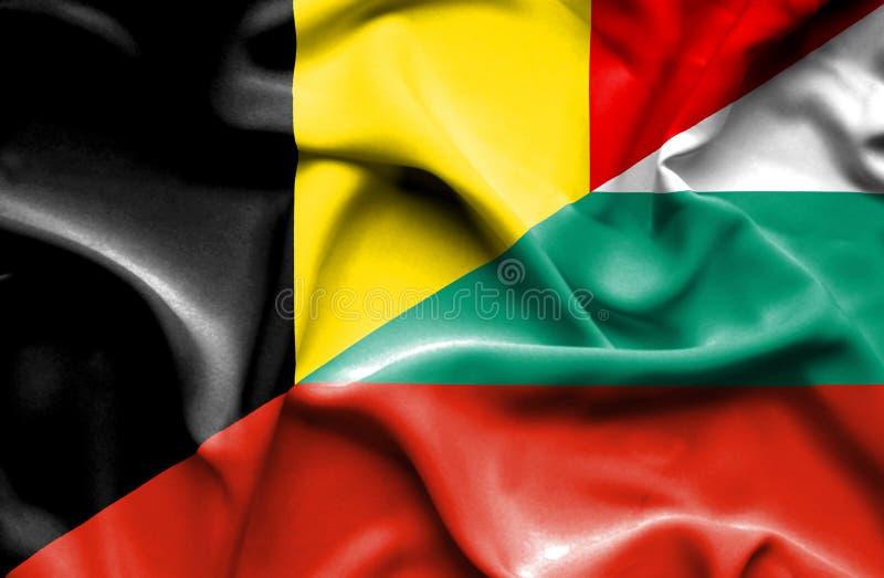 保加利亚和比利时的挥动的旗子 库存例证