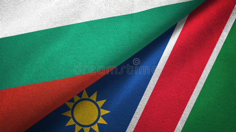保加利亚和纳米比亚两旗子纺织品布料,织品纹理 皇族释放例证