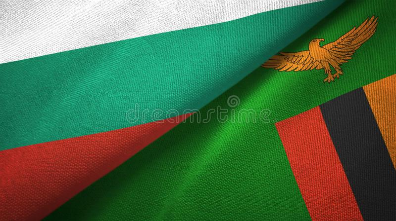 保加利亚和赞比亚两旗子纺织品布料,织品纹理 向量例证