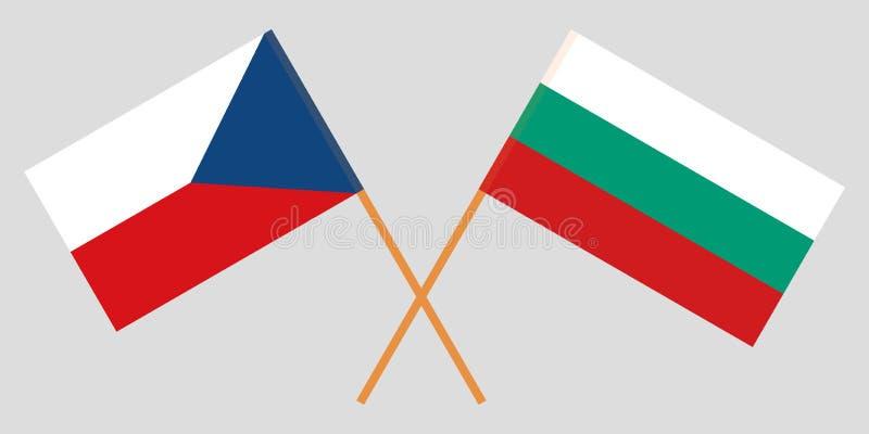 保加利亚和Czechia 保加利亚和捷克旗子 正式颜色 正确比例 向量 向量例证