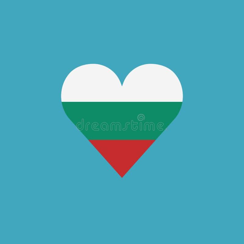 保加利亚在一心形的旗子象在平的设计 向量例证