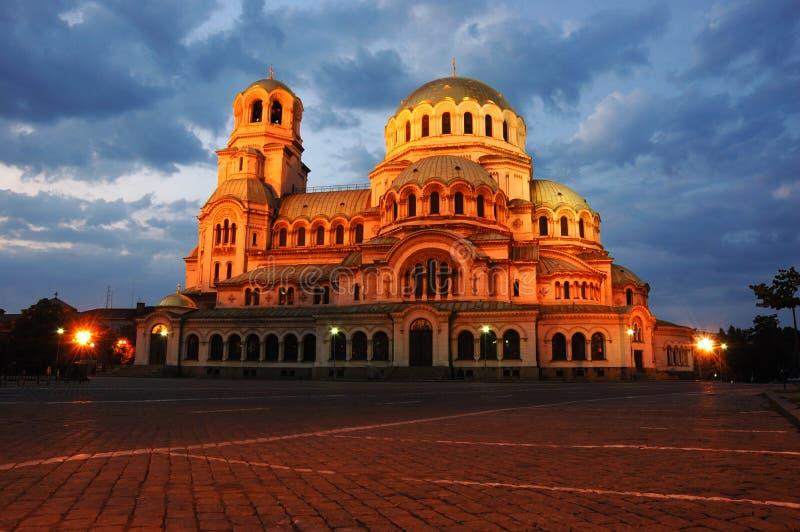 保加利亚大教堂nevski晚上索非亚视图 库存照片