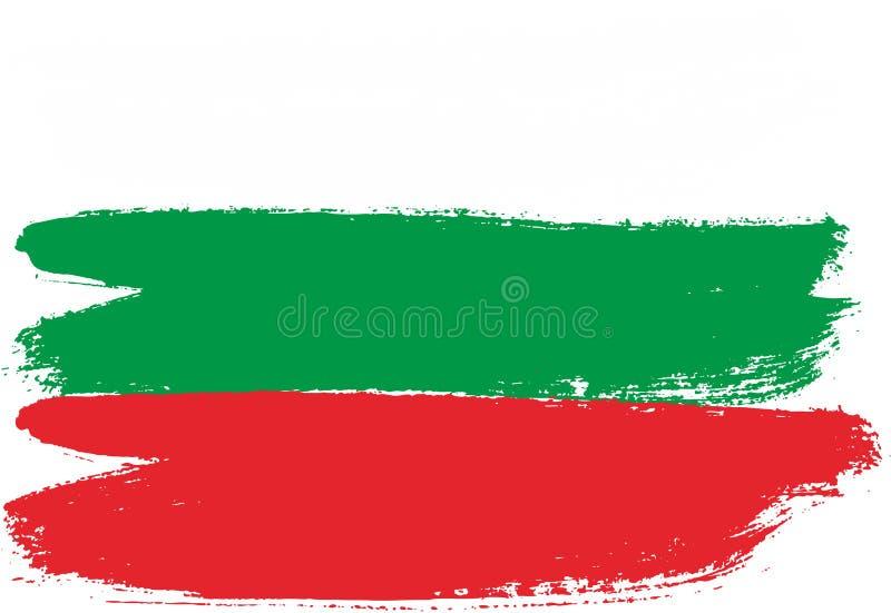 保加利亚旗子传染媒介手画与被环绕的刷子 库存例证