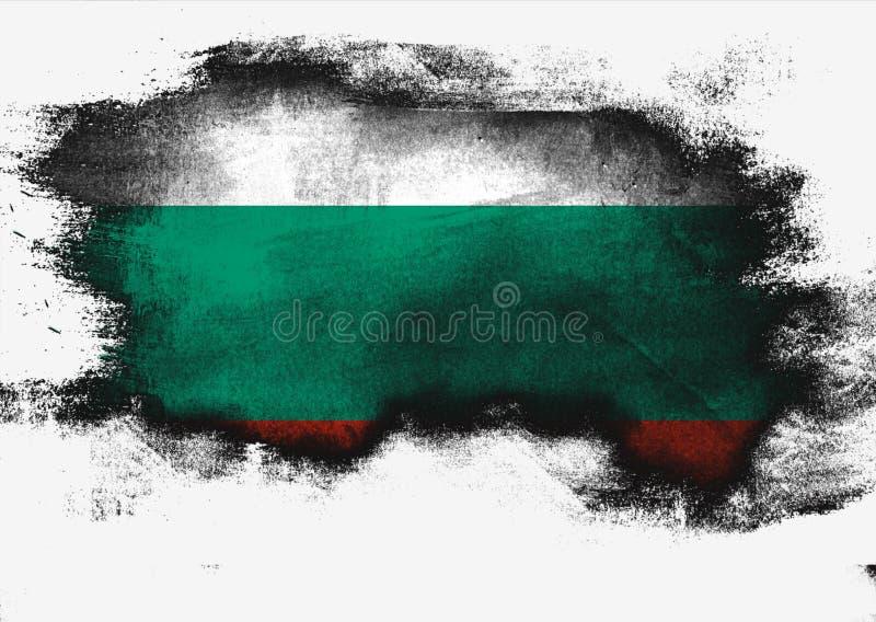 保加利亚旗子绘与刷子 库存例证