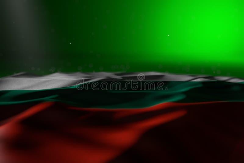 保加利亚旗子说谎在与bokeh的绿色背景的俏丽的黑暗的图象和内容的-任何场合旗子3d自由空间的 皇族释放例证