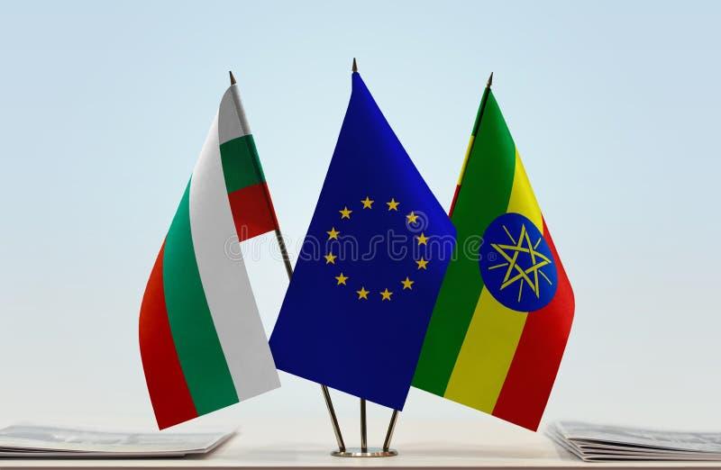 保加利亚欧盟和埃塞俄比亚的旗子 库存例证