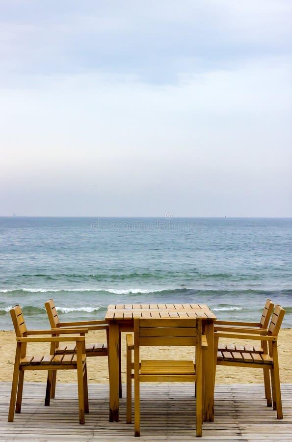 保加利亚海滩的餐馆 免版税图库摄影