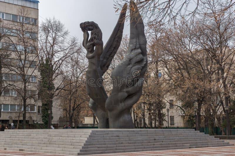 保加利亚的统一的纪念碑在市普罗夫迪夫,保加利亚 免版税库存照片