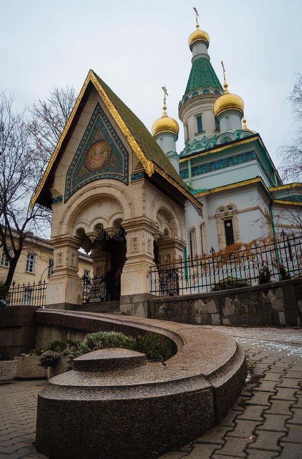 保加利亚索非亚的俄罗斯教堂 库存照片