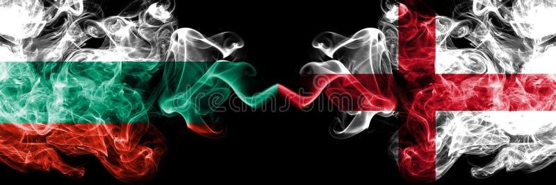 保加利亚英国竞争厚实的五颜六色的发烟性旗子 欧洲橄榄球资格比赛 皇族释放例证