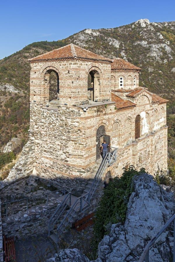 保加利亚阿塞诺夫格勒中世纪阿森堡遗址 免版税图库摄影