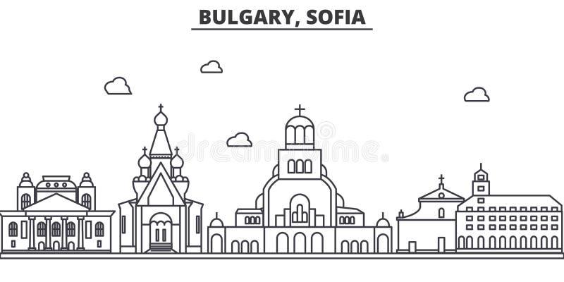 保加利亚,索非亚建筑学线地平线例证 与著名地标的线性传染媒介都市风景,城市视域 库存例证