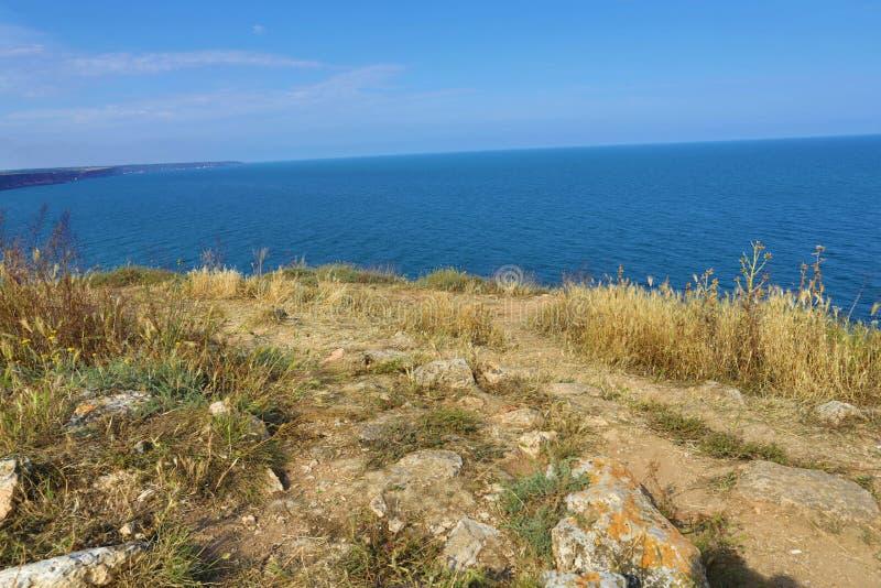 保加利亚,黑海 沿海equense横向阶索伦托vico Kaliakra陆岬 免版税图库摄影