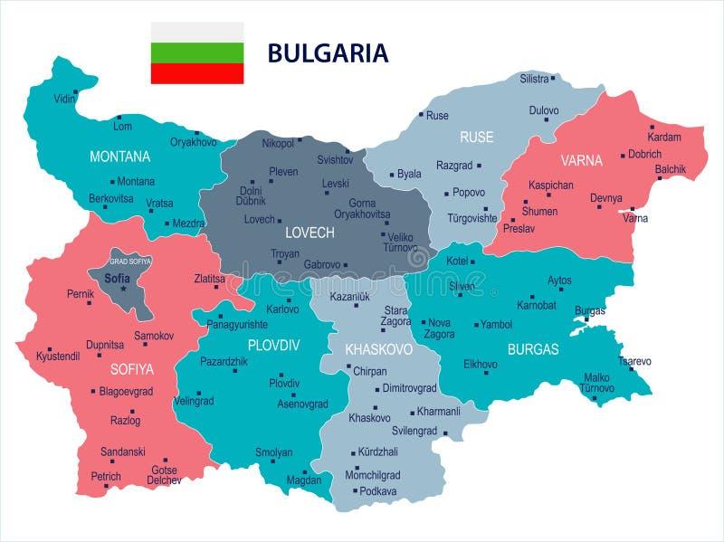 保加利亚-地图和旗子-详细的传染媒介例证. 商业, 向量.图片