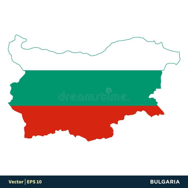 保加利亚-欧洲国家映射并且下垂传染媒介象模板例证设计 o 向量例证