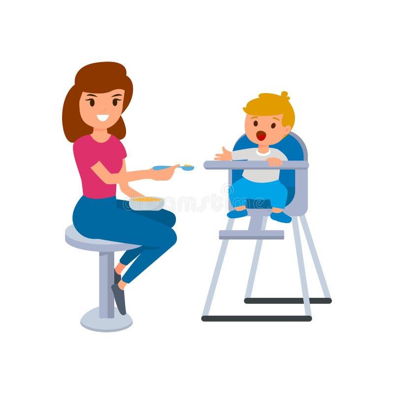 保姆或保姆喂养高脚椅子的婴孩 在白色背景的传染媒介舱内甲板被隔绝的例证 向量例证