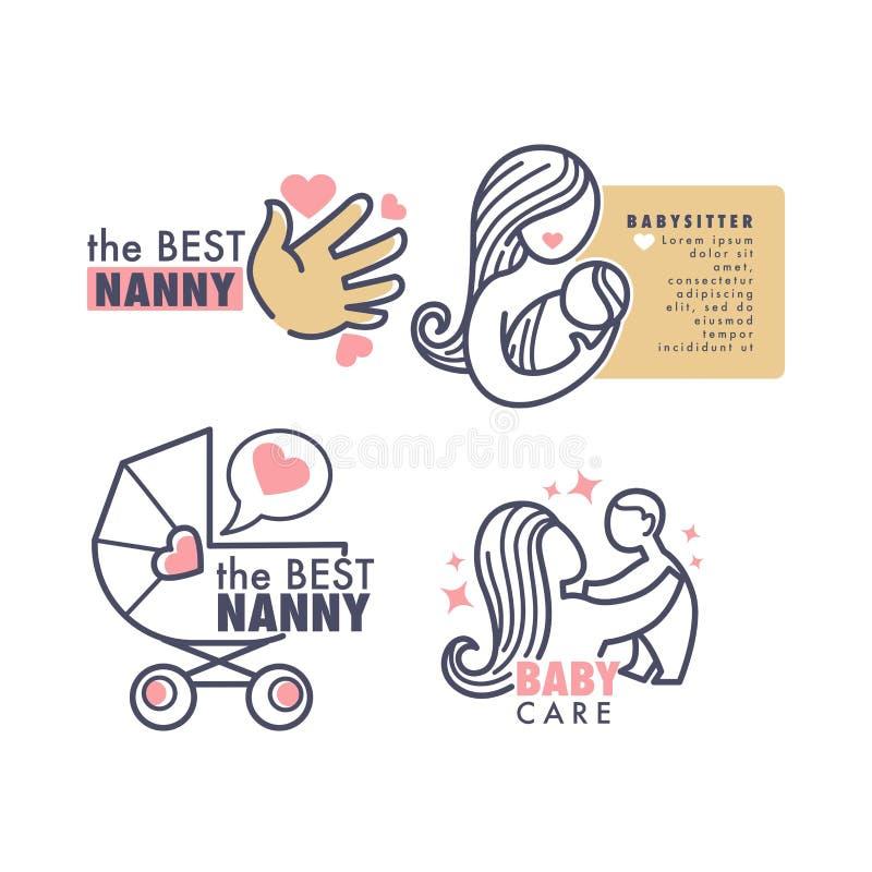 保姆机构保姆服务被隔绝的象征婴孩关心传染媒介儿童棕榈妇女和新出生的乳头 库存例证