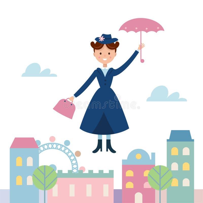 保姆玛丽飞行在镇的Poppins 也corel凹道例证向量 皇族释放例证