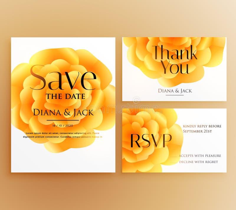 保存与明亮的yel的日期婚礼邀请模板设计 皇族释放例证