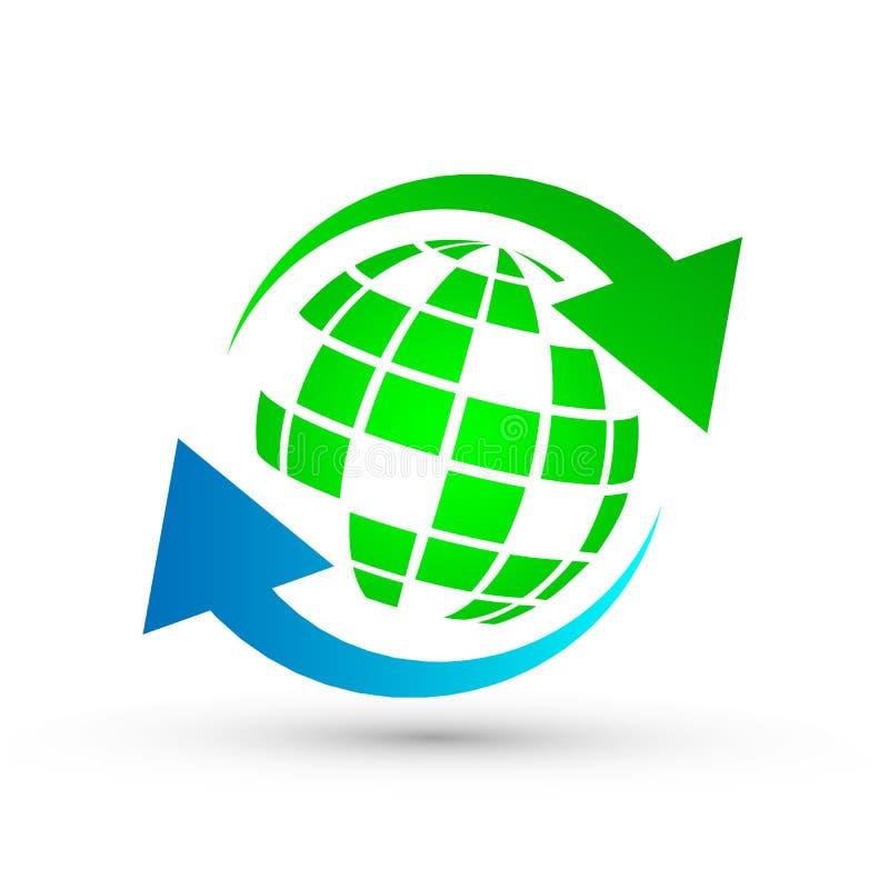 保存与绿色商标象的地球在白色背景 向量例证