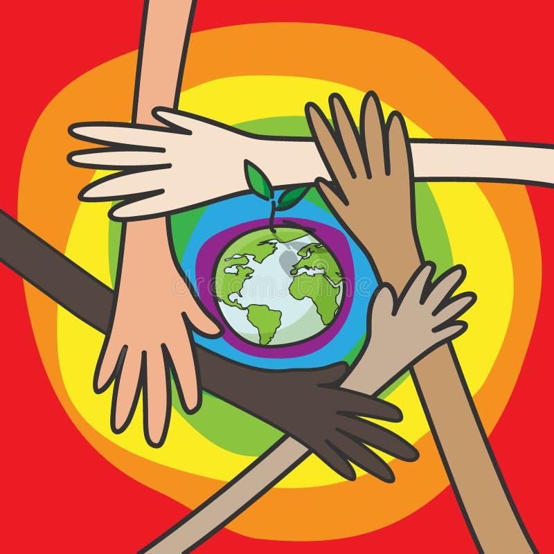 保存世界概念 不同的国籍的人的手为保存的环境自然保护的 库存例证