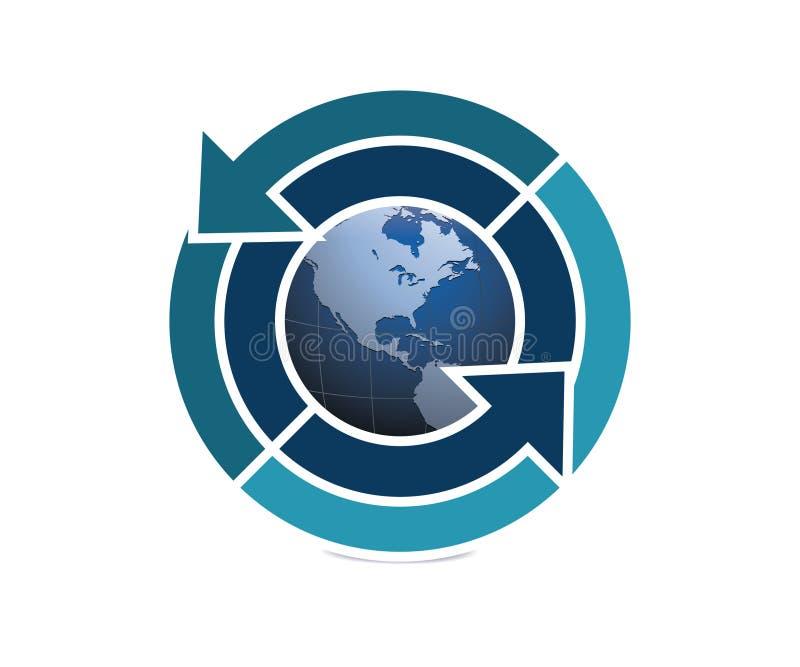 保存在蓝色的地球商标 库存例证