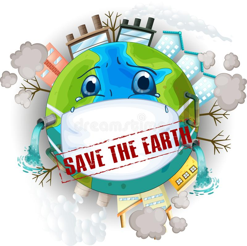 保存地球商标 皇族释放例证