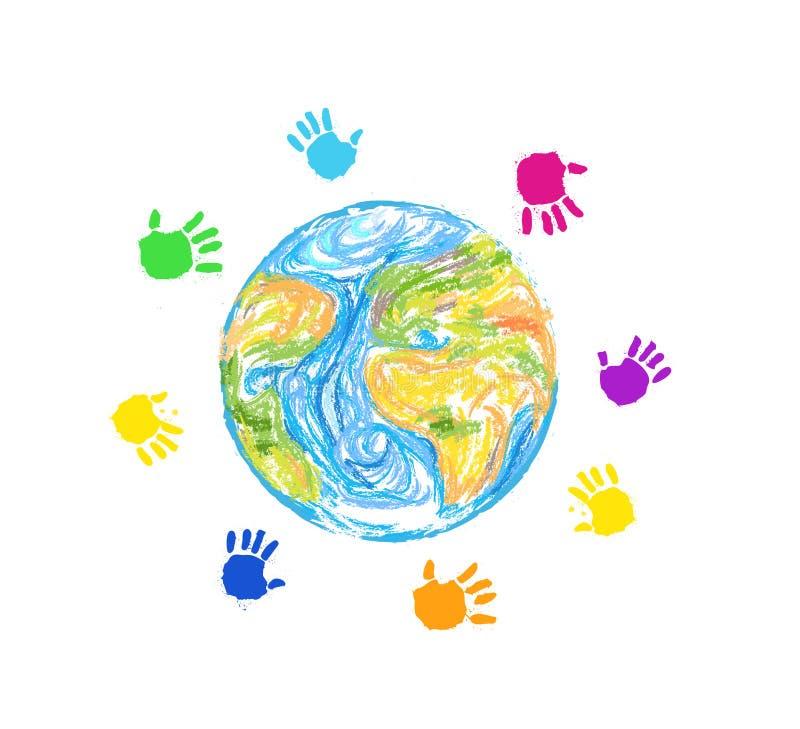 保存孩子的,在地球附近的色的儿童手地球在白色背景, 库存例证
