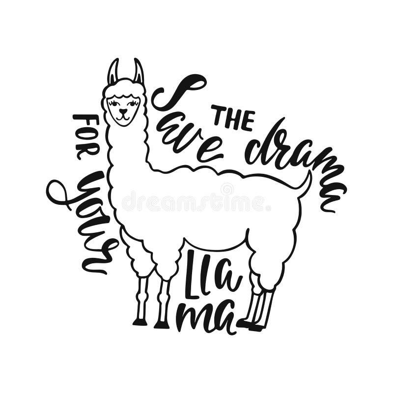 保存您的骆马的戏曲 关于幸福的手拉的启发行情以喇嘛 印刷术设计 库存例证