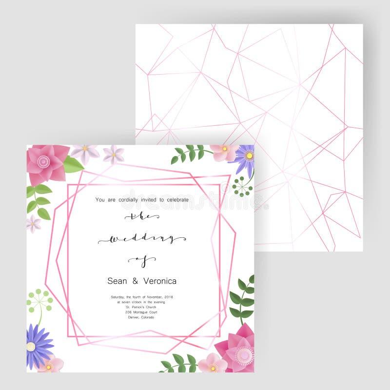 保存日期卡片、婚姻的邀请、贺卡与美丽的花和信件 皇族释放例证