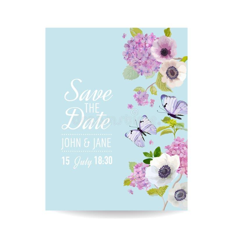 保存日期卡片婚礼邀请模板 与八仙花属花和蝴蝶的植物的卡片 招呼花卉明信片 向量例证