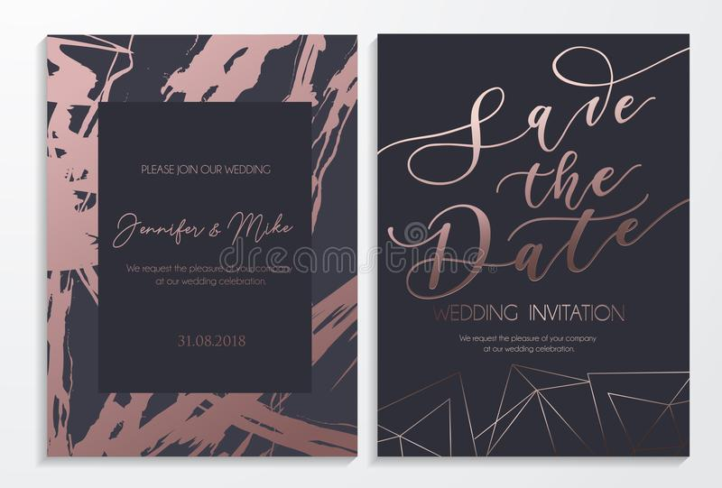 保存日期婚礼邀请卡片在黑暗和玫瑰色金tex 皇族释放例证