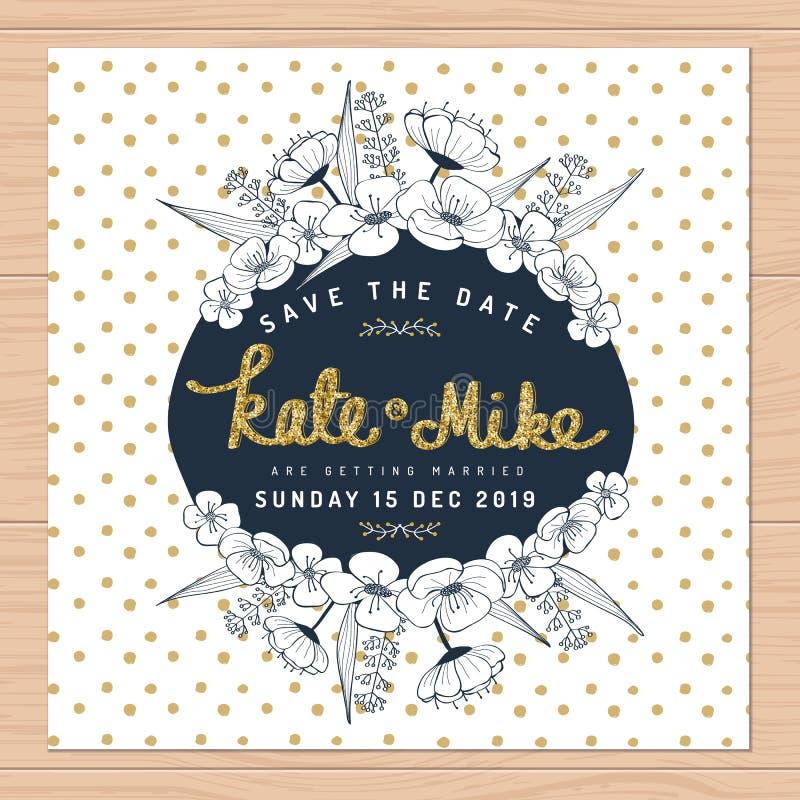 保存日期,婚姻与手拉的花花卉和金黄闪烁装饰的邀请卡片在圆点背景 库存例证