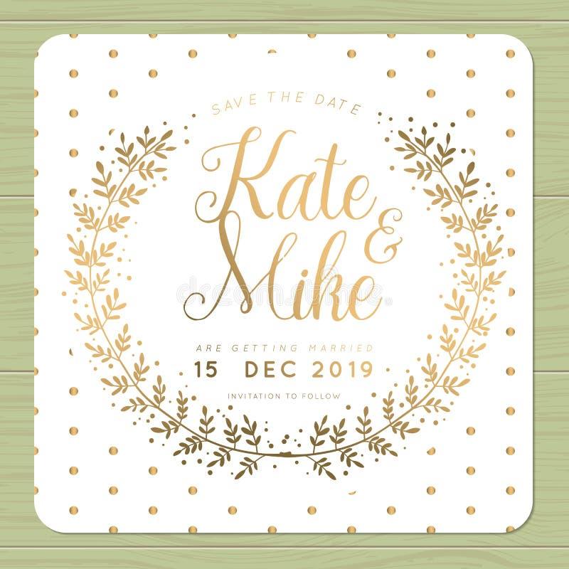 保存日期,婚姻与花圈花模板的邀请卡片在发光的金黄颜色和圆点背景 向量例证