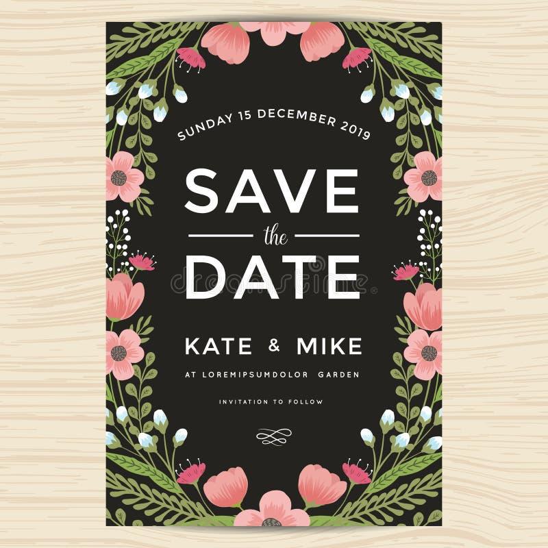 保存日期,婚姻邀请与手拉的花圈花葡萄酒样式的卡片模板 花花卉背景 库存例证