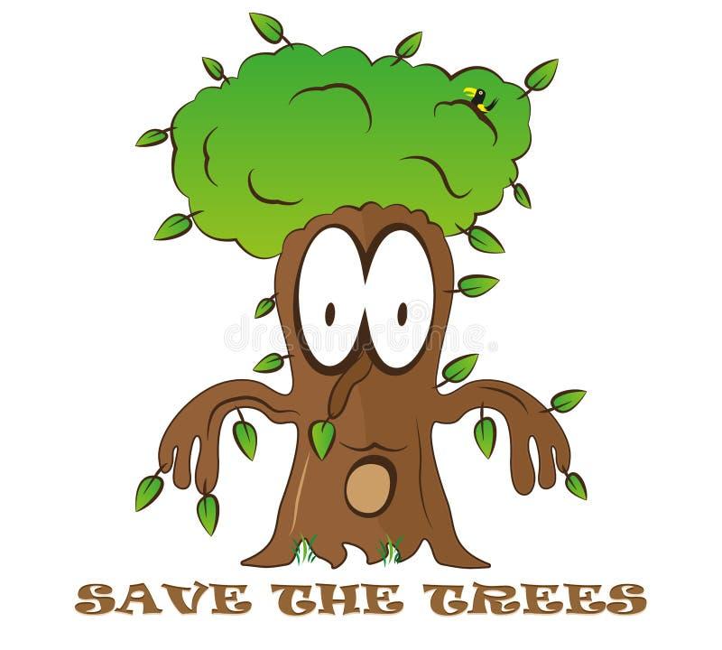 保存树逗人喜爱的动画片幻想孩子绿色商标传染媒介eco例证 向量例证
