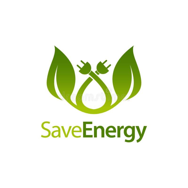 保存能量词根离开与电火花塞象商标构思设计模板 向量例证